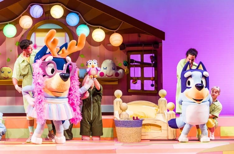 On stage in the kids bedroom, Bluey's Dad Bandit is dressed up in a pink feather boa, purple glasses and a fairy tutu.
